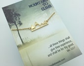 Silver or Gold Mountain Necklace - Silver or Gold Bar Mountain Necklace - choose carded Mountains to Climb or in a silver gift box