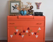 Tangerine Orange Art Deco Sideboard with Triangles