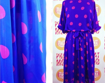 POP ART Vintage 90s Purple & Pink Polkadot Lightweight Dress!