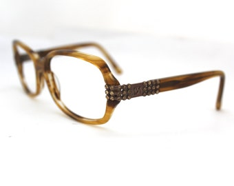 1990s Eyeglasses // Rare 80s 90s Vintage Designer Frames // Tortoiseshell // Rhinestone inlay