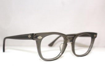 Titmus Vintage 1950s Grey Eyeglass Frames // 40s 50s Clubmaster Keyhole Glasses/Titmus brand