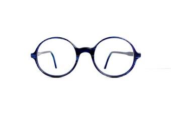 90s Round Eyeglasses Frames Unisex Vintage 1990's Dark Blue Pattern Made in France #M416 DIVINE