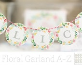 MINI Floral Watercolor 2in A-Z ABC Garland