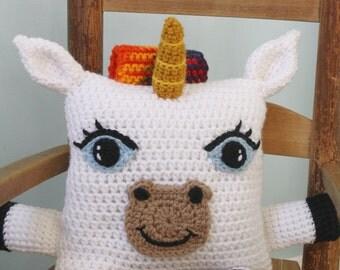 Unicorn Pillow,Unicorn Stuffed Toy, Crochet Pillow, Crochet Toy, Throw Pillow, Holiday Gift, Men, Women, Boys, Girls, Accent Pillow, Gift