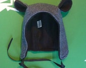 BLACK & BLUE Puppytooth Fabric Winter Bear Hat- Toddler, Kids, and Adult Sizes!