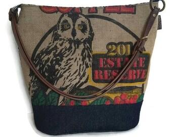 MTO. Custom. Owl Bucket Hobo Handbag. Repurposed Kauai Coffee Bag and Shoulder Bag. Handmade in Hawaii.