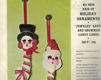 Bucilla Felt Sequin Ornament Kit Santa Snow Lady Candy Cane