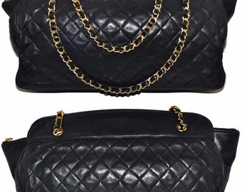 """CHANEL Paris 16.75"""" Inch Jumbo Size Black Quilted Lambskin Extra Large Shoulder Bag"""