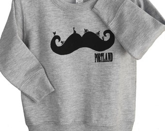 Mustache. Baby & youth Sweatshirt. Bike ride. Art by MATLEY. Children apparel. mustasche Portland. Kids sweatshirt. jumper. Gift ideas.