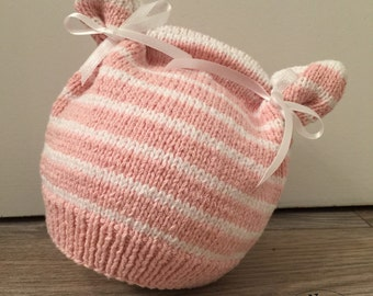 Pink spring bonnet / white, cotton, infant (6/12 months)