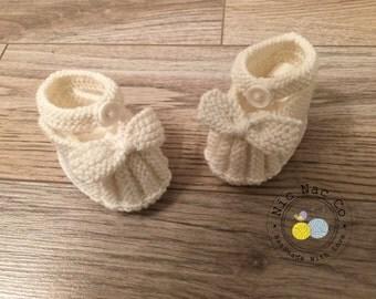 White slippers, pure Merino baby wool (0/3 months)