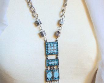 Aqua Pendant Double Chain in Boho Style