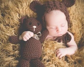 Crochet PATTERN Teddy Bear BONNET in 4 sizes & BEAR Doll