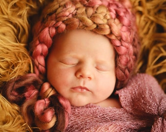 Baby Easy Crochet PATTERN Newborn DOILY & BONNET Petal Stitch Doily and Bonnet