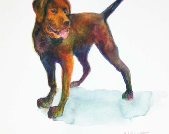 Original Watercolor -  Dozer the Labrador - Black Brown Lab Labrador Mix
