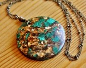 SALE Funky Malachite and Peacock Ore Bornite gemstone pendant necklace big chunky bold statement jewelry extra very long brown gold green