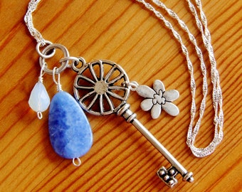SALE - Blue Agate dangle pendant necklace skeleton key flower charm white crystal long boho bohemian hippie natural stone gemstone jewelry