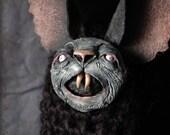Little Woolly Bat - bat, nosferatu, puppet, poppet, odd, dark, vampyr, creepy, vampire, bloodsucker, vampyr, macabre, black, fluffy, horror