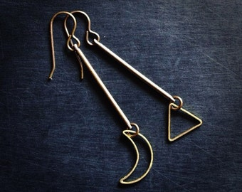 Asymmetrical Earrings / Moon Earrings / Triangle Earrings / Geometric Earrings / Brass Earrings