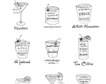 Mad Men Era Drinks, Classic Cocktails, Bar Decor, Mid Century Modern, Black and White, Illustration Art Print, Vintage Style, Poster Art