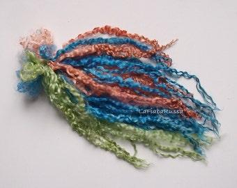 doll hair mix blue, brown, orange long wool locks 17 in, 1.8 oz long for Blythe Doll Hair, BJD, Art Dolls, waldorf doll, spinning and felt