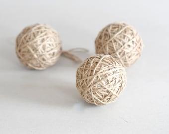 Jute Twine Balls Rustic Ornament Set of 3  Rustic Home Decor Holiday Decor Christmas Tree Ornaments