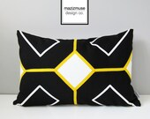 Black White Outdoor Pillow Cover, Modern Yellow Geometric Pillow Cover, Decorative Throw Pillow Case, Sunbrella Pillow Cushion Cover
