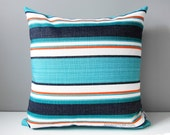 Turquoise Blue Outdoor Pillow Cover, Decorative Throw Pillow Cover, Modern White Navy Cyan & Melon Striped Sunbrella Pillow Cushion Cover