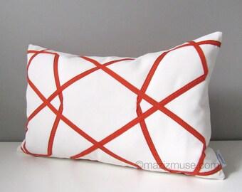 SALE - Orange & White Outdoor Pillow Cover, Geometric Pillow Case, Decorative Throw Pillow Cover, Modern Sunbrella Pillow Cushion Cover
