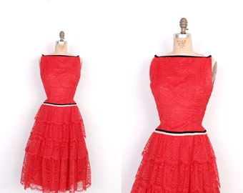 Vintage 1950s Dress / 50s Lace and Velvet Party Dress / Red (small S)