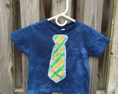 Kids Tie Shirt, Kids Shirt with Tie, Boys Tie Shirt, Girls Tie Shirt, Kids Necktie Shirt, Blue Tie Shirt, Batik Kids Shirt (3T)