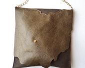 Ohio Purse - Olive Brown Leather Crossbody Bag - Two Tone Hand Stitched - Go Bucks - Columbus Ohio