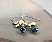 London Blue Topaz Orchid Flower Gold Earrings