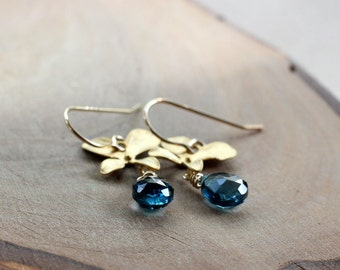 London Blue Topaz Orchid Flower Gold Earrings