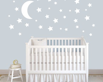 Moon and Stars - Shapes Nursery and Kid's Bedroom Wall Decals
