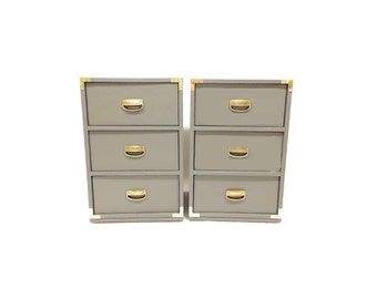 Pair of Vintage End Tables In Seal Gray