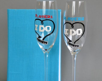 Hand painted Wedding Toasting Flutes Set of 2 Personalized Champagne glasses Players I Do
