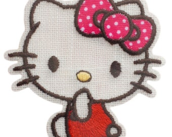 Hello Kitty Patch, Kawaii Sanrio Embroidered Iron On Patch, Japanese Cute Girl Iron on Applique, Made Japan, Embroidery Applique, W202
