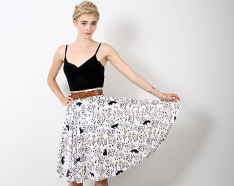 Cats in Grass Swing Pocket Skirt in Pale Pink, Ochre and Black on White