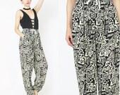 Vintage Tribal Print Pants Comfy Slouchy Pants Drawstring Elastic Waist Pants Comfy Yoga Pants Boho Rayon Ethnic Boho Harem Pants (XS/S/M)