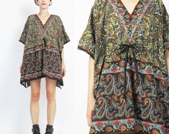 Vintage Boho Hippie Caftan Top Oversize Slouchy Blouse Sparkly Paisley Floral Print Blouse V Neck Beach Swim Cover Up Tunic Top (L/XL) E119