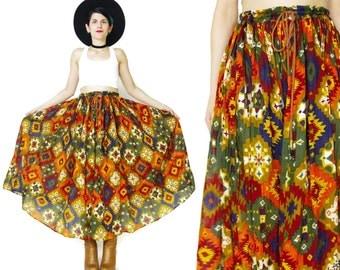 Southwestern Maxi Skirt Gypsy Indian Cotton Skirt Colorful Boho Geo Printed Skirt Drawstring Waist Skirt Plus Size Broomstick Skirt (XL)