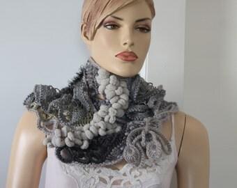 Boho Chic Gypsy Hippie Freeform Crochet Scarf Capelet Shawl Neck Warmer , Grey Black Lace Scarf, Chunky knit Scarf Cowl
