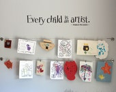 Every Child is an Artist Wall Decal - Children Artwork Display Decal - Picasso Quote - Medium - 32 x 5