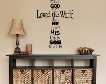John 3:16 Cross Decal - Christian Decal - Cross Wall Decor - God so loved - Bible Verse Sticker