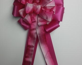 Wedding Pew Bows Shades of Pink Ombre Wired Ribbon over Bright PinkAzalea Acetate Satin Hand Tied