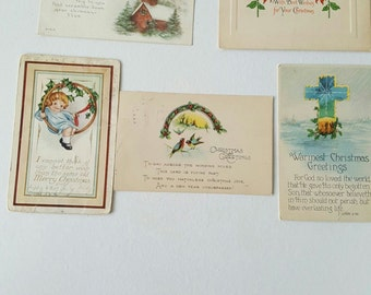 Five 1900's Antique Holiday Postcards
