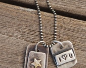 2 Charm Sterling Silver Necklace small mini charms on sterling Oxidized ball Chain I (Heart) U and You Rock with Brass Star 20 Inch Chain
