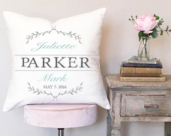 Cotton Anniversary Gift Personalized Gift Pillow Cover Last Name