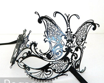 Black Butterfly Goddess Venetian Filigree Scroll work Metal Masquerade Mask (5 color options) Lightweight Laser Cut flexible metal mask